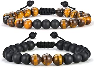 Tiger Eye Mens Bracelet Gifts – 8mm Tiger Eye Lava Rock Stone Mens Anxiety..
