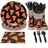 Pizza Party Supplies Pack, Includes Paper Plates, Napkins, Cups and...
