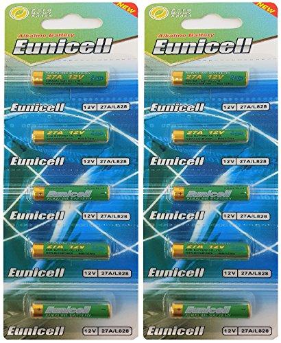 Eunicell - 10 batterie da 27A, 12V, MN27, A27, V27GA, L828, GP27A, 2 blister da 5 batterie