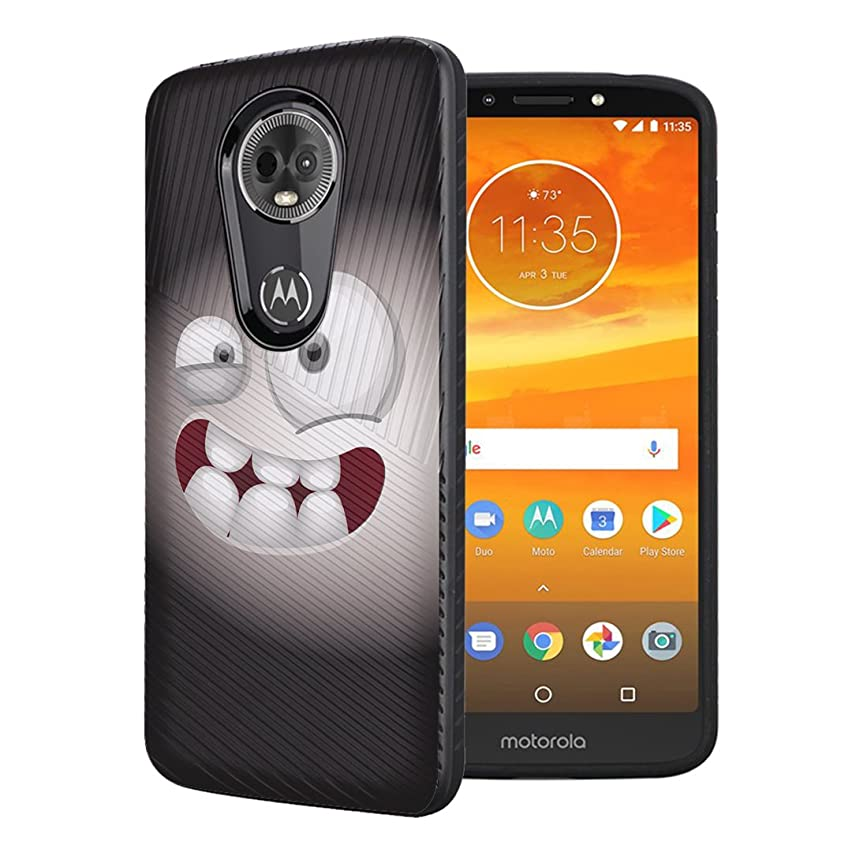 Moriko Case Compatible with Moto G7 Power, Moto G7 Supra [Embossed Diagonal Lines Hybrid Slim Armor Black Case] for Motorola Moto G7 Power - (Smiley Monster)