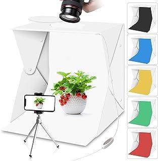 Tragbare Fotostudio Lichtbox mit Lichtern für Lebensmittelfotografie, Aureday Mini Fotobox und Blitzlichtbox mit 6 Farben Backups, Schießzelt mit Mini Stativ