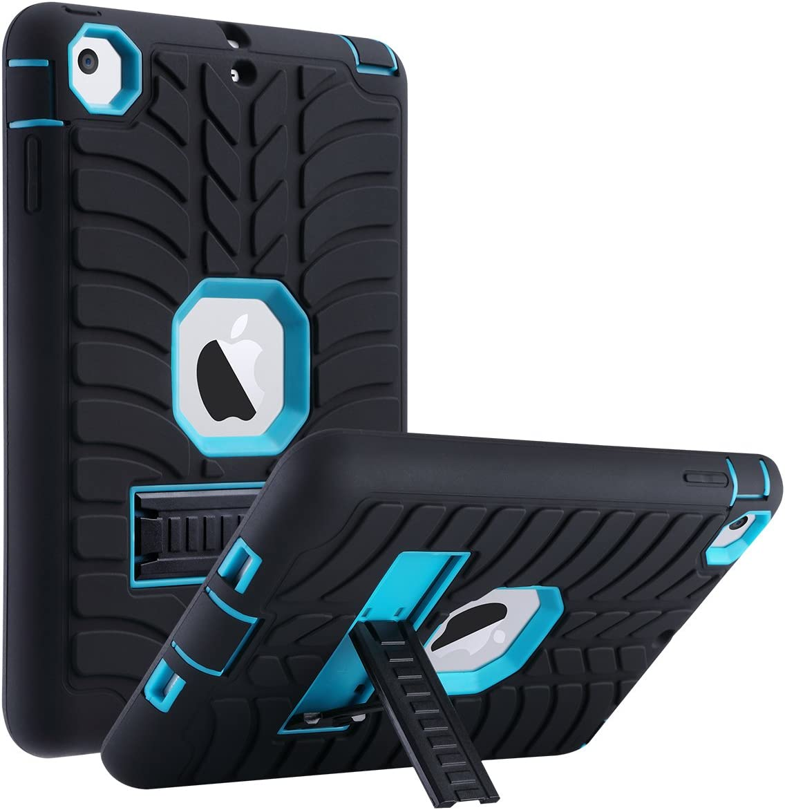 ULAK iPad Mini 2 Case, iPad Mini Case, iPad Mini 3 Case, iPad Case with Stand Shock-Absorption Three Layer Protective Case for Apple iPad Mini, Mini 2, Mini 3, Mini Retina-Aqua Blue/Black