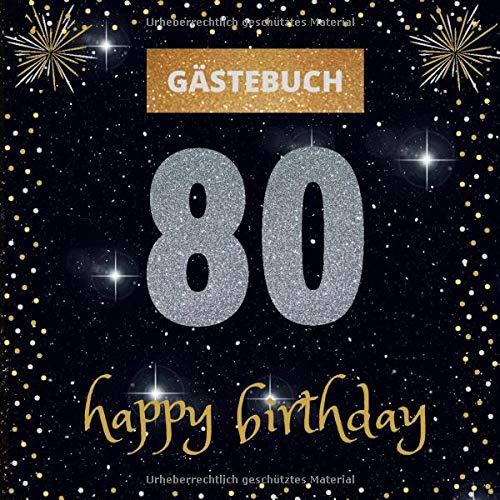Gästebuch 80. Geburtstag: happy birthday   mit witzigen Fragen zum Ausfüllen   für Frauen und...