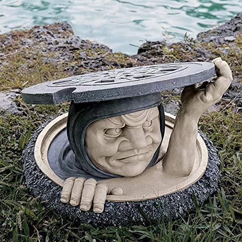 LUDAXUE Bewohner unter Garten Statue Harz Skulptur Ornament Outdoor Decoration Harz Zweifarbige Stein Finish Statue Für Garten Yard Vordertür Rasen Walkway Decor
