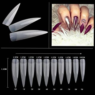 AORAEM 500pcs Stiletto Nail Tips Long Shape Natural Half Cover False Nail Art Tips 10 Size with Bag