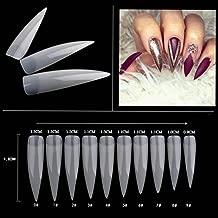 AORAEM 500pcs Stiletto Nail Tips Long Shape Natural Half Cover False Nail Art Tips 10 Size with Bag