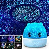 WINICE Projector Night Light,Sea World Starry Sky Rotating LED Star Projector Lamp for Bedroom, Night Color Moon Lamp for Baby Kids Children Teens Adults - 6 Sets of Film (Blue Pig)