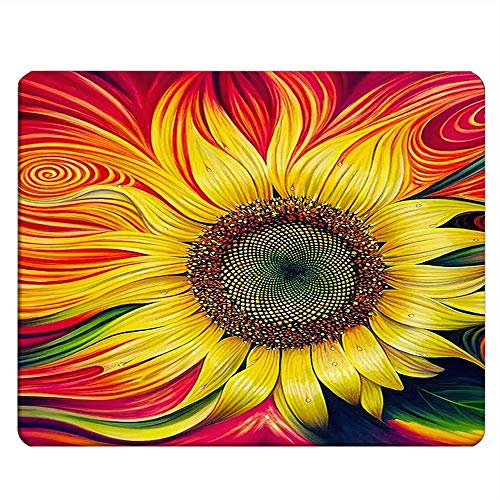 NICOKEE Sunflower Rectangle Gaming Mousepad Oil Painting Big Sunflower Mouse Pad Mouse Mat for Computer Desk Laptop Office 9.5 X 7.9 Inch Non-Slip Rubber