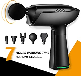 Estleys Massage Gun, 7 Hours Working Time, 5 Speeds Level, 5 Heads, Quiet Brushless Motor, Quick Rechargeable Device, Deep Tissue Percussion Muscle Massager for Sore Muscle and Stiffness (Black)