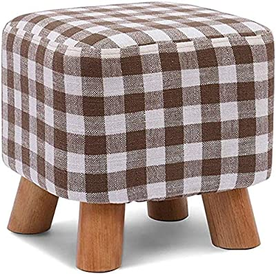 AGLZWY Footstool Modern Wooden Support Padded Footrest Chair Living Room Detachable Linen Cover 7 Colors Optional Round color : Gray, Size : 29X25CM