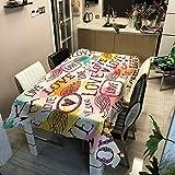 DJUX Mantel Impermeable de poliéster con Estampado de Mantel Rectangular para el hogar Mantel de Comedor Mantel de té Mantel 100x140cm