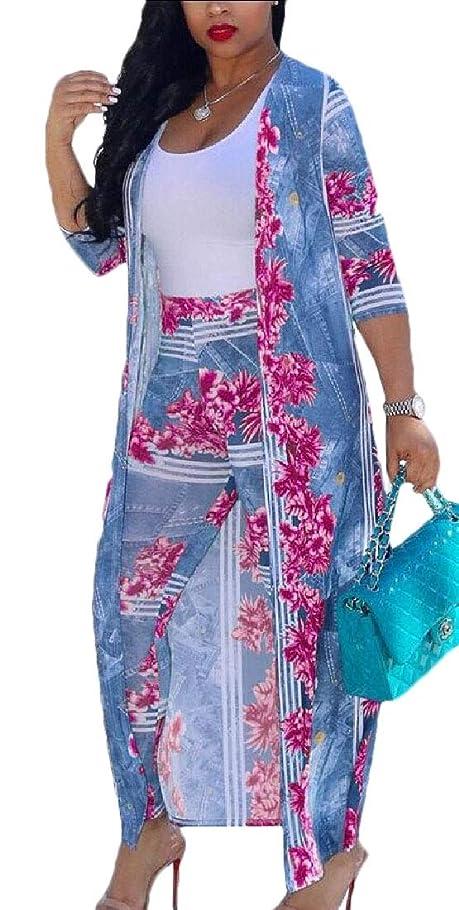 ラフレシアアルノルディ学校教育俳優女性2ピース花ロングスリーブオープンフロント着物カーディガンとボディコン高ウエストロングパンツの衣装