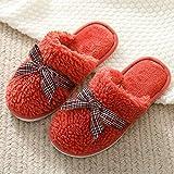 N/W Zapatillas de Mujer, Zapatillas cálidas de Invierno para Mujer, Zapatillas de Lana de Suela Gruesa Antideslizantes-Orange_40-41