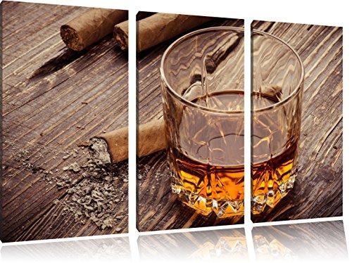 Whiskey und Zigarren 3-Teiler Leinwandbild 120x80 Bild auf Leinwand, XXL riesige Bilder fertig gerahmt mit Keilrahmen, Kunstdruck auf Wandbild mit Rahmen, gänstiger als Gemälde oder Ölbild, kein Poster oder Plakat