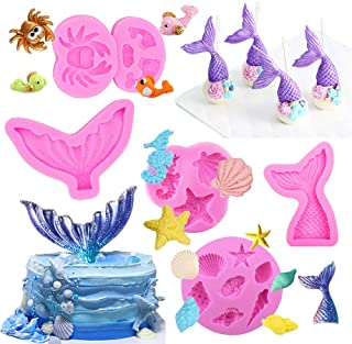 5 Pack Seashell Mermaid Tail Mold, Silicone Fondant Cake Molds, Chocolate Candy Starfish Hippocampus Mold for Beach Theme Wedding Birthday Party Cake Decoration Cupcake Topper