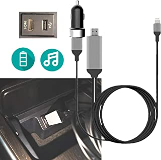 HDMI Car Audio Adapter Cable with USB Charg-er, Compatible with i-Phone i-Pod i-Pad 8p Lighting Port for Toyot Honda Nissa...