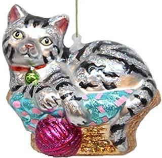December Diamonds Blown Glass Ornament Cat in Basket