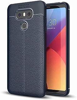 NiaCoCo Kompatibel mit LG G6 Hülle Hauttextur Weiches TPU Dünn Handyhülle Rutschfester Anti Fingerabdruck Erdbebenresistenz Anti Fall Telefonkasten+1*(Gratis Handyhalter) Blau