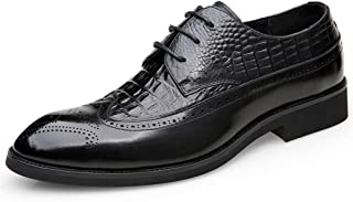 Leather Business Oxfords for Men Dress Shoes Lace up Genuine Leather Embossed Pointed Toe Block Heel Rubber Sole shoes (Color : Black, Size : 39 EU)
