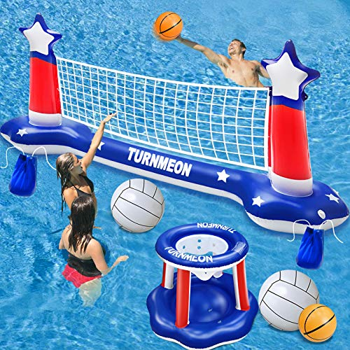 """Large Inflatable Pool Games Volleyball Net & Basketball Hoop Set with 2 Balls Swimming Pool Toys for Adults Kids Pool Floating Water Pool Toys Party Volleyball Net (116""""x46""""x30"""") Hoop (31""""x31""""x24"""")"""