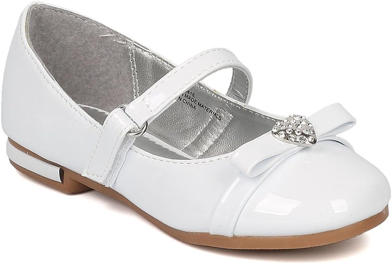 Alrisco Girls Rhinestone Heart Bow Tie Mary Jane Ballet Flat HB74 - White Patent (Size: 2 Little Kid)