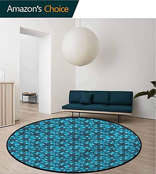 RUGSMAT Flower Modern Machine Washable Round Bath Mat Abstract Summer Design Protect Floors While Securing Rug Making Vacuuming Diameter 24