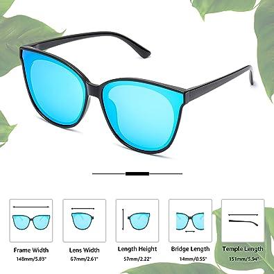 LVIOE Cat Eyes Sunglasses for Women, Polarized Oversized Fashion Vintage Eyewear for Driving Fishing - 100% UV Protection