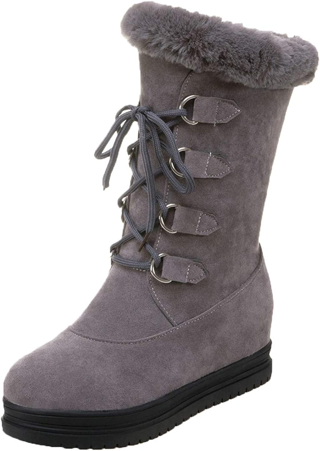 Vitalo Womens Lace up Mid Calf Flat Fur Warm Winter Outdoor Snow Boots