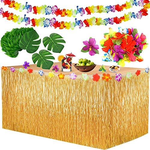 Yojoloin 39 Pcs Hawaiano Luau Falda de Mesa Set de decoraci