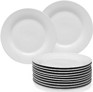 amHomel 12-Piece White Porcelain Dinner Plate Set, 10.5inch High Temperature Natural Dinnerware Set for Restaurant,Kitchen...