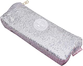 FairOnly Sequins Inverted Trapezoidal Shape Pencil Case for Stationery File Storage Silver