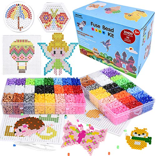 SEEKONE Fuse Beads Kit, 24 Colors 90 Patterns 10400 Pcs DIY Art Craft Iron Perler Beads Set for Kids with Pegboards, Pattern Cards, Tweezers and Ironing Paper