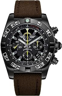 Breitling Chronomat 44 Blacksteel 44mm Mens Watch on Brown Canvas Strap MB01109L/BD48-108W