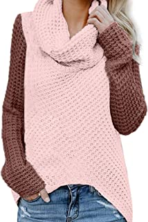 Women Sweaters Pullover Color Block Cowl Neck Outwears Pullover Tops Asymmetrical Knitted Tunic Jumper Tops