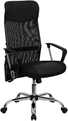 Offex High Back Black Leather and Mesh Swivel Task Chair with Arms [OF-BT