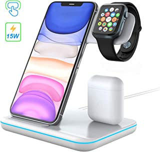 3 in 1 Wireless Charging Station, POWERGIANT 15W Qi Fast Fast Wireless Charger Station Compatible with Airpods Pro 2 1 iWatch 5 4 3 2 1 iPhone 11 Xs Max Xr X 8 Plus Samsung S10 S9 S8, Color White