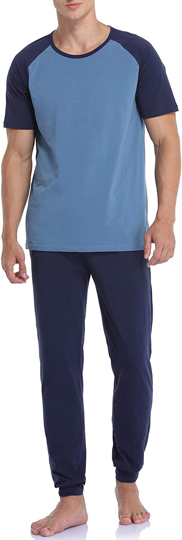 COLORFULLEAF Mens Cotton Pajamas Set Short Sleeve Sleepwear Jogger Sleep Set Raglan Shirt Lounge Pants