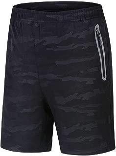 "Rdruko Men's 7"" Sports Shorts Quick Dry Lightweight Running Gym Workout Shorts Zipper Pockets"