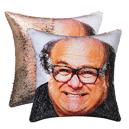 cygnus Sequin Mermaid Pillow Cover Danny Devito Face Funny Reversible Magic Throw Pillow Case That...