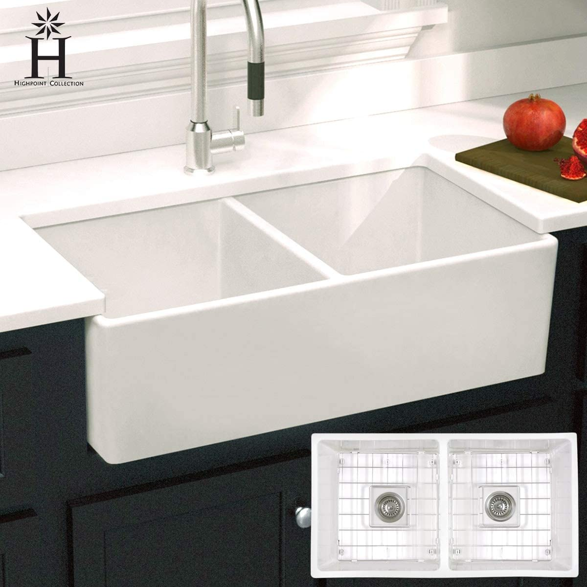 Double Bowl Farmhouse Sink - 33 Easy-to-use X Glossy White 10 18 R Rectangle Portland Mall