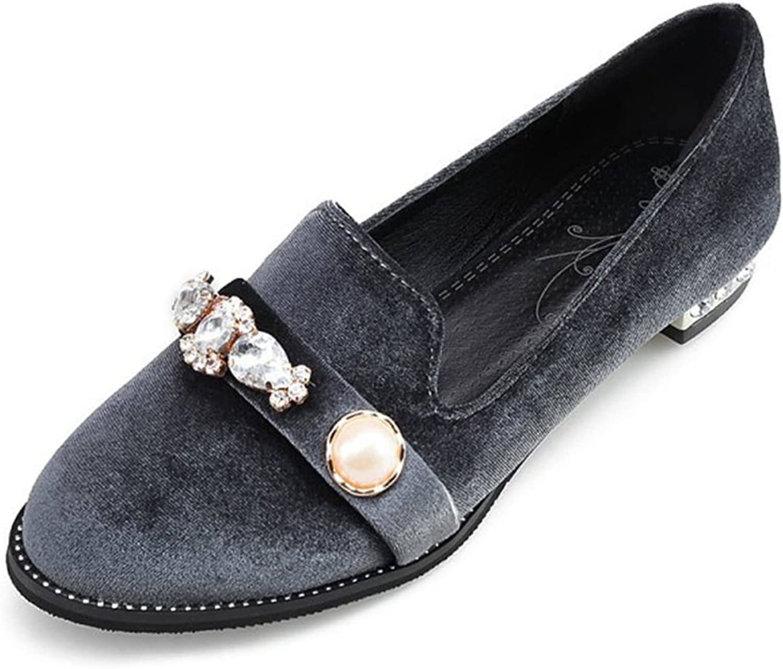 Hoxekle kvinnor Rhinestone Rhinestone Rhinestone Low klackar Low Top Round Toe mocka Rubber Sole Slip On Loafer skor  billigare