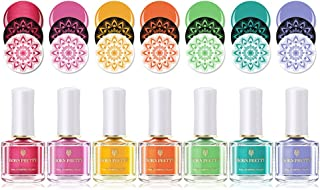BORN PRETTY Color caramelo Estampado de uñas polaco Kit Laca de uñas Colorido Nail Art Plate Impresión polaco 7 Botellas