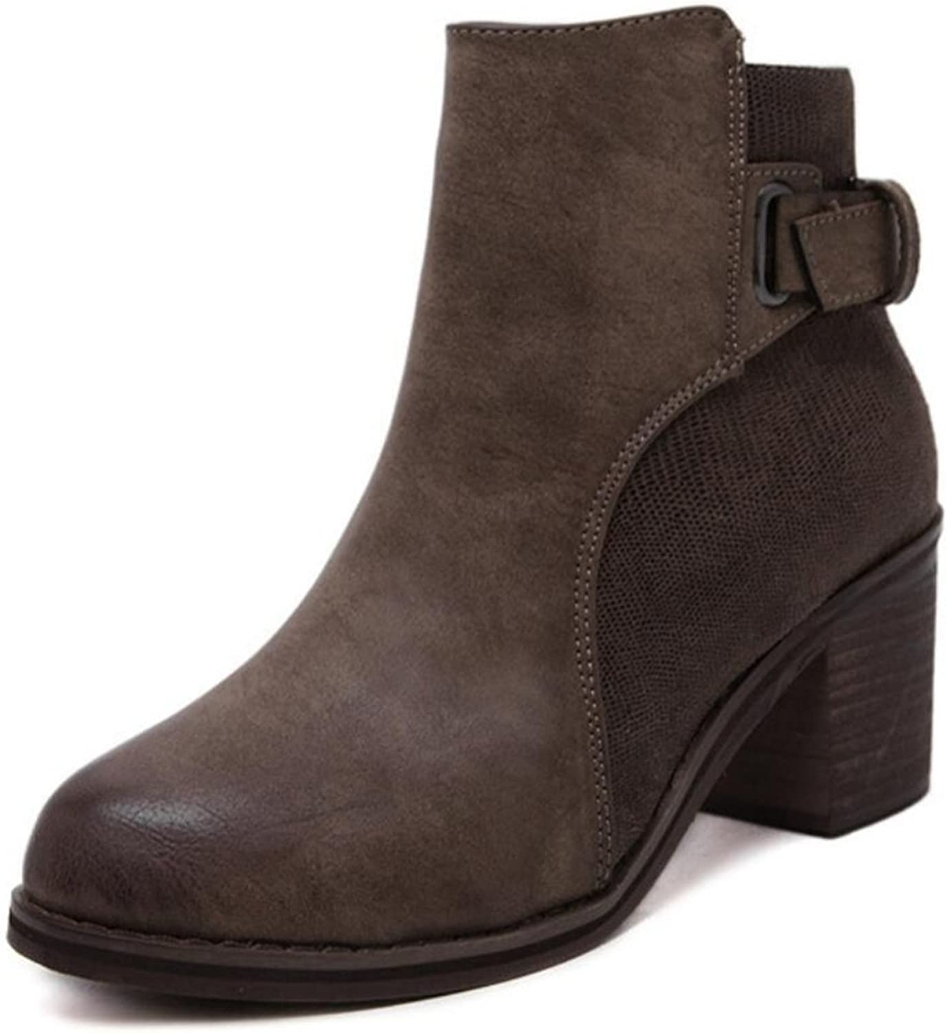 LINYI New Round Side Zipper Simple Chunky Heel Artificial PU Wild Boots