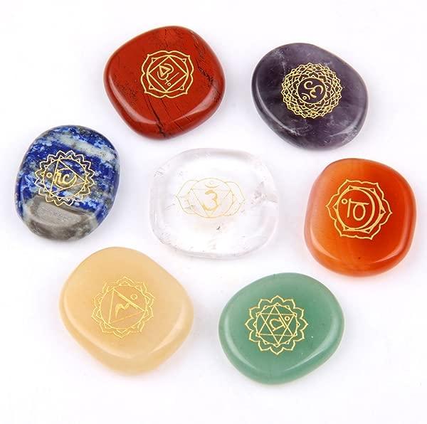 Chakra Stones Reiki Healing Crystal With Engraved Chakra Symbols Holistic Balancing Polished Palm Stones Set Of 7