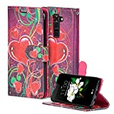 LG K7 Cover, LG Tribute 5 Case, LG X210 Case, Premium Phone Case Wallet, NEW Designs, Flip Wallet Case Cover for LG K7, X210 (Hearts Red)