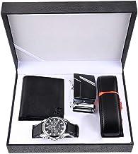 Souarts Herren Geschenkset mit Armbanduhr Männer Geldbörse Gürtel Sonnenbrillen Auto Schlüsselanhänger Geschenk Set für He...