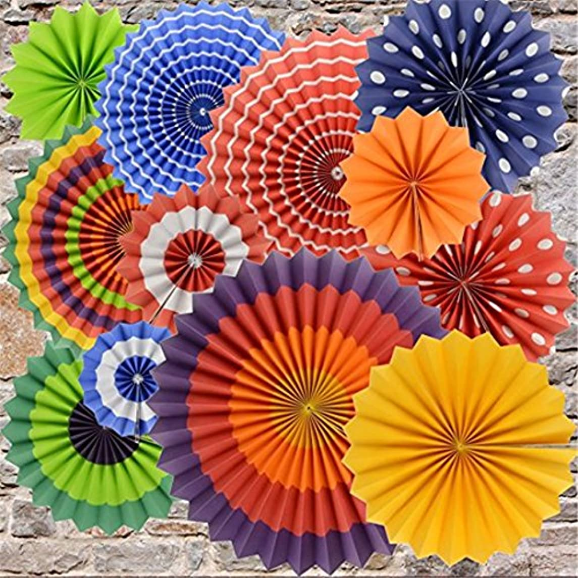 Festival Paper Fan, BeiLan 12 Pack Hanging Paper Fan Decorations Foldable Colorful Paper Fan Flower for Birthday Party Wedding Celebration Baby Festival Decoration