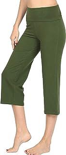 Re.Born Women's Premium Cotton Spandex Yoga Lounge Workout Capri Pants with Fold Over Waistband S-3XL