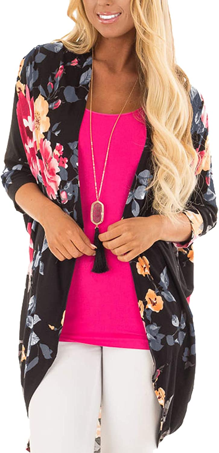 Casuress Women CardiganFloral Print Loose Kimono Cardigan Blouse Top Cover Up Outwear Black