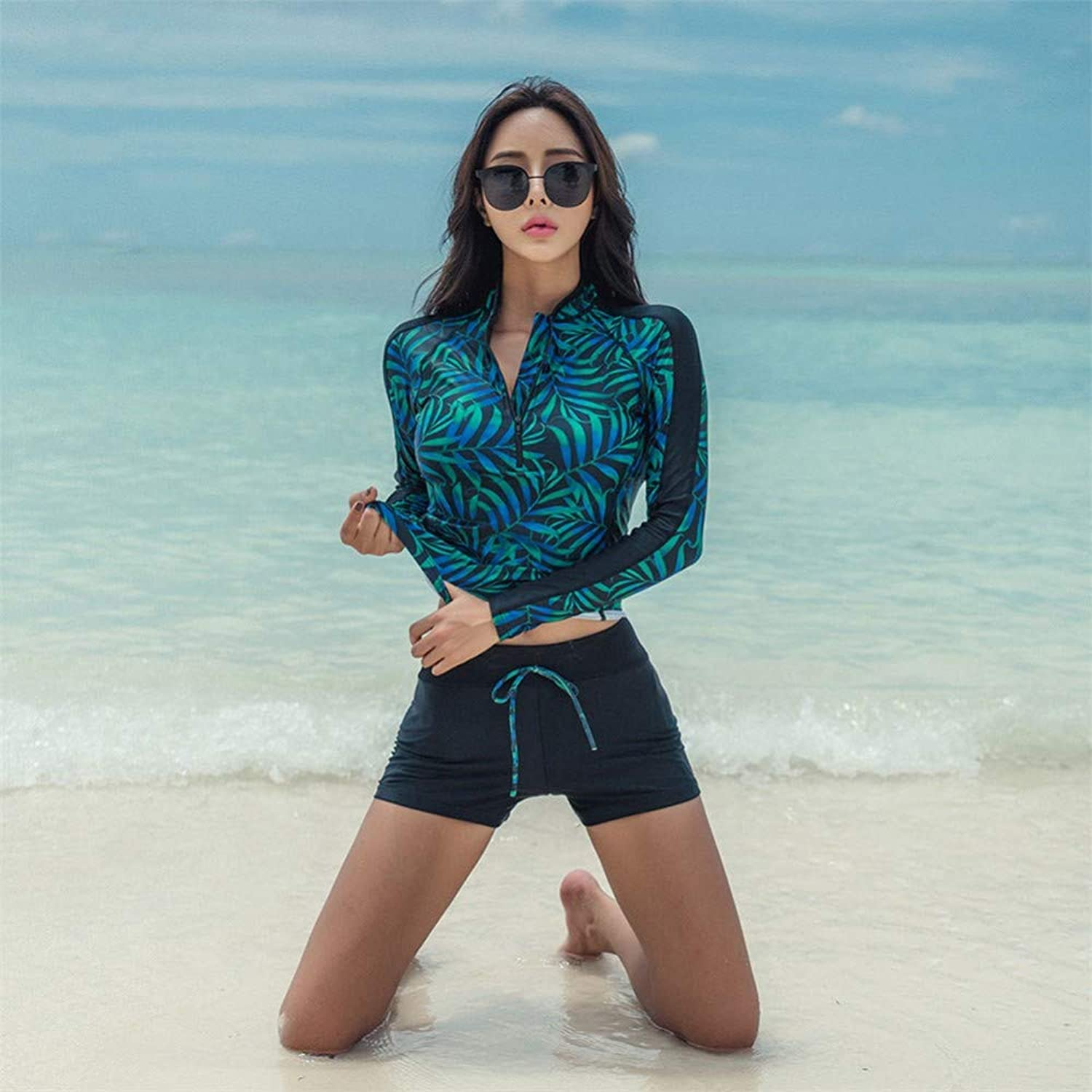 WAZR Women'S Long-Sleeved Long-Sleeved, Flat-Angle, Belly-Covering Sport Conservative, Slim And Large-Size Hot Spring Swimsuit